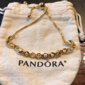 Pandora gold plated honeycomb gold plated bracele